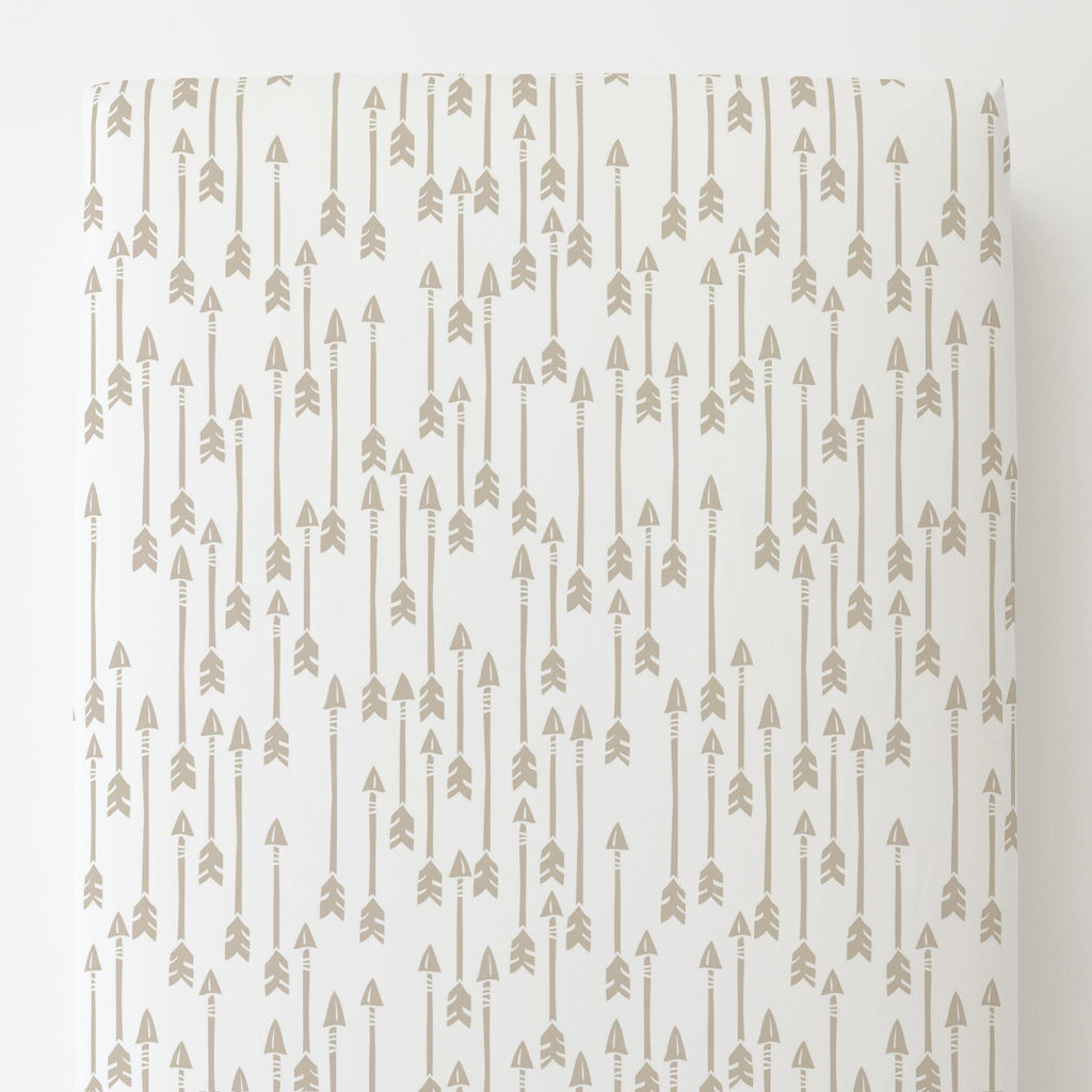 Product image for Taupe Flying Arrow Toddler Sheet Bottom Fitted