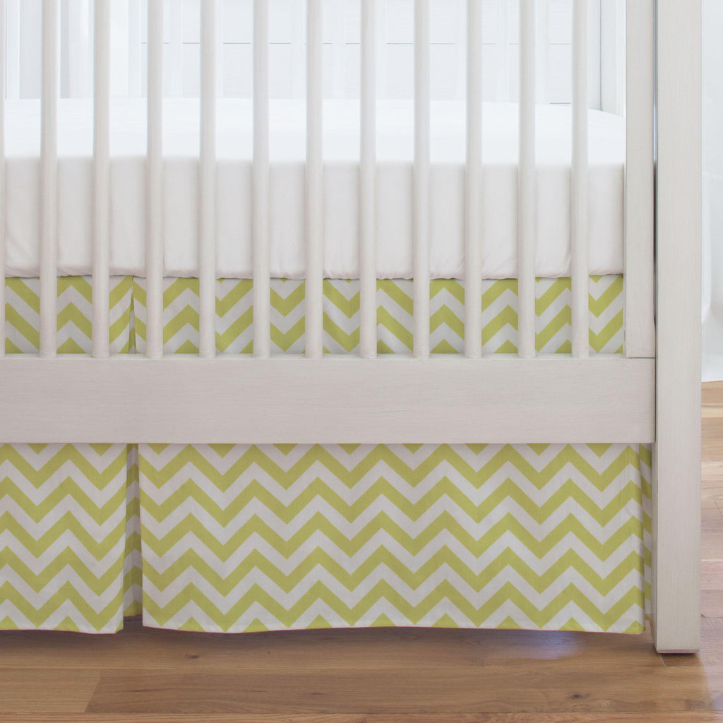 Product image for Light Lime Zig Zag Crib Skirt Single-Pleat