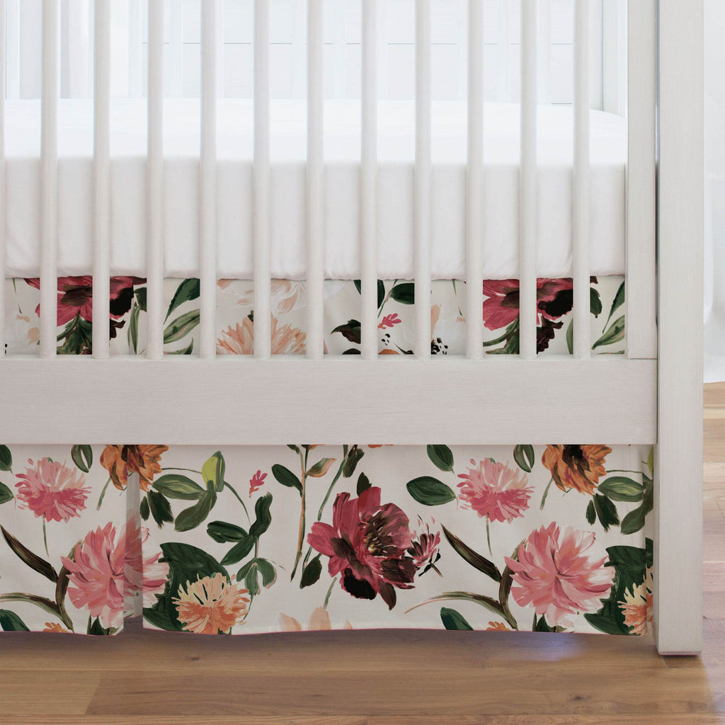 Product image for Moody Floral Crib Skirt Single-Pleat