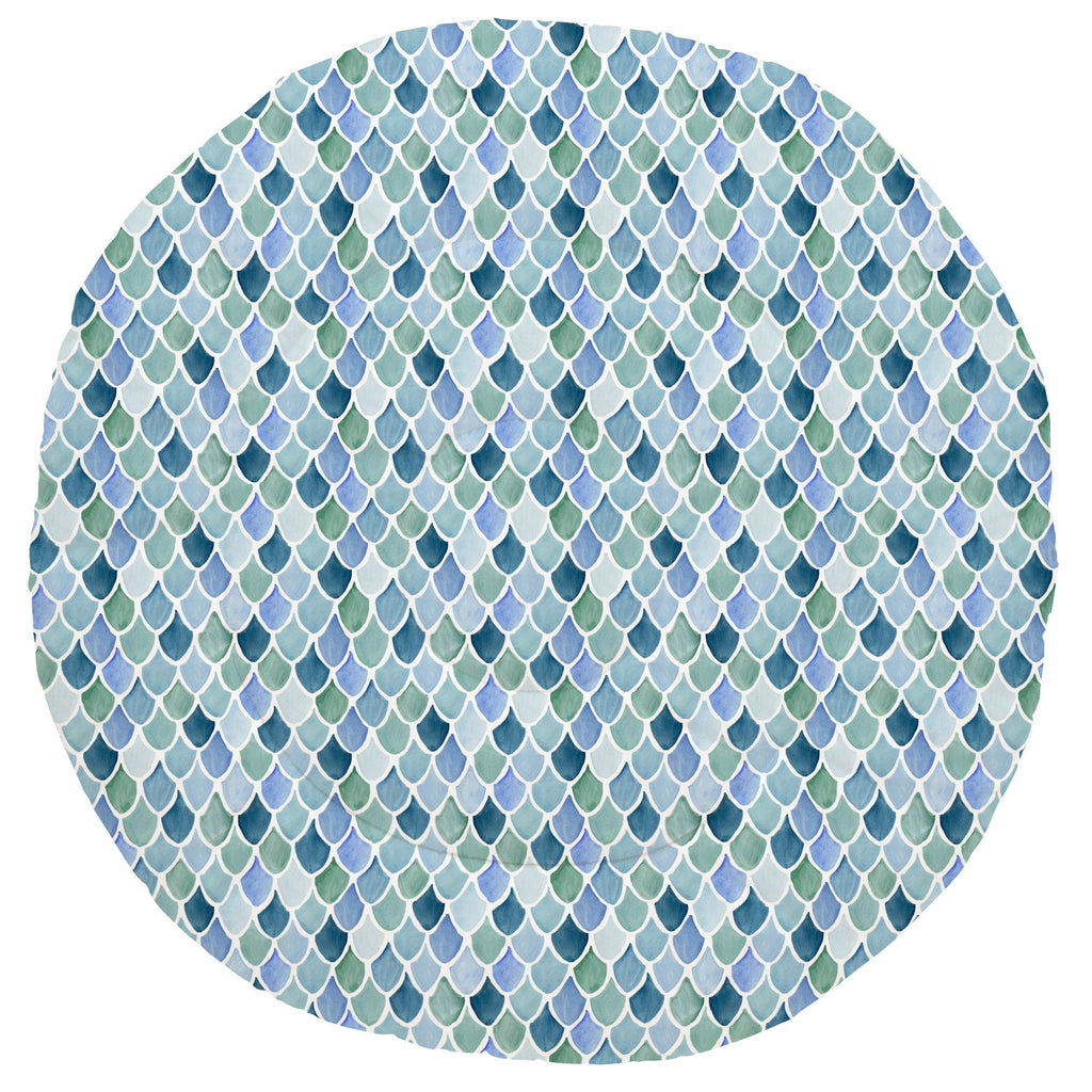 Product image for Blue Watercolor Scales Baby Play Mat
