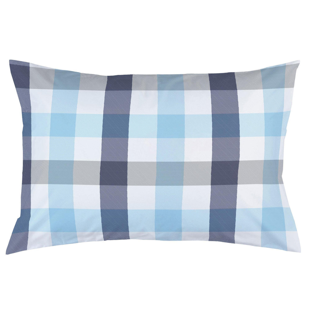 Product image for Navy and Lake Blue Buffalo Check Pillow Case