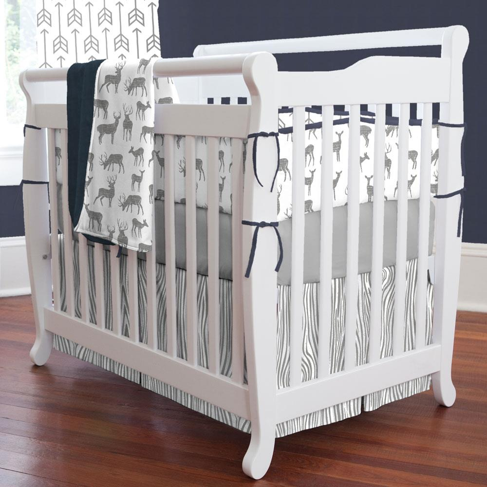 Product image for Cloud Gray Deer Mini Crib Bumper