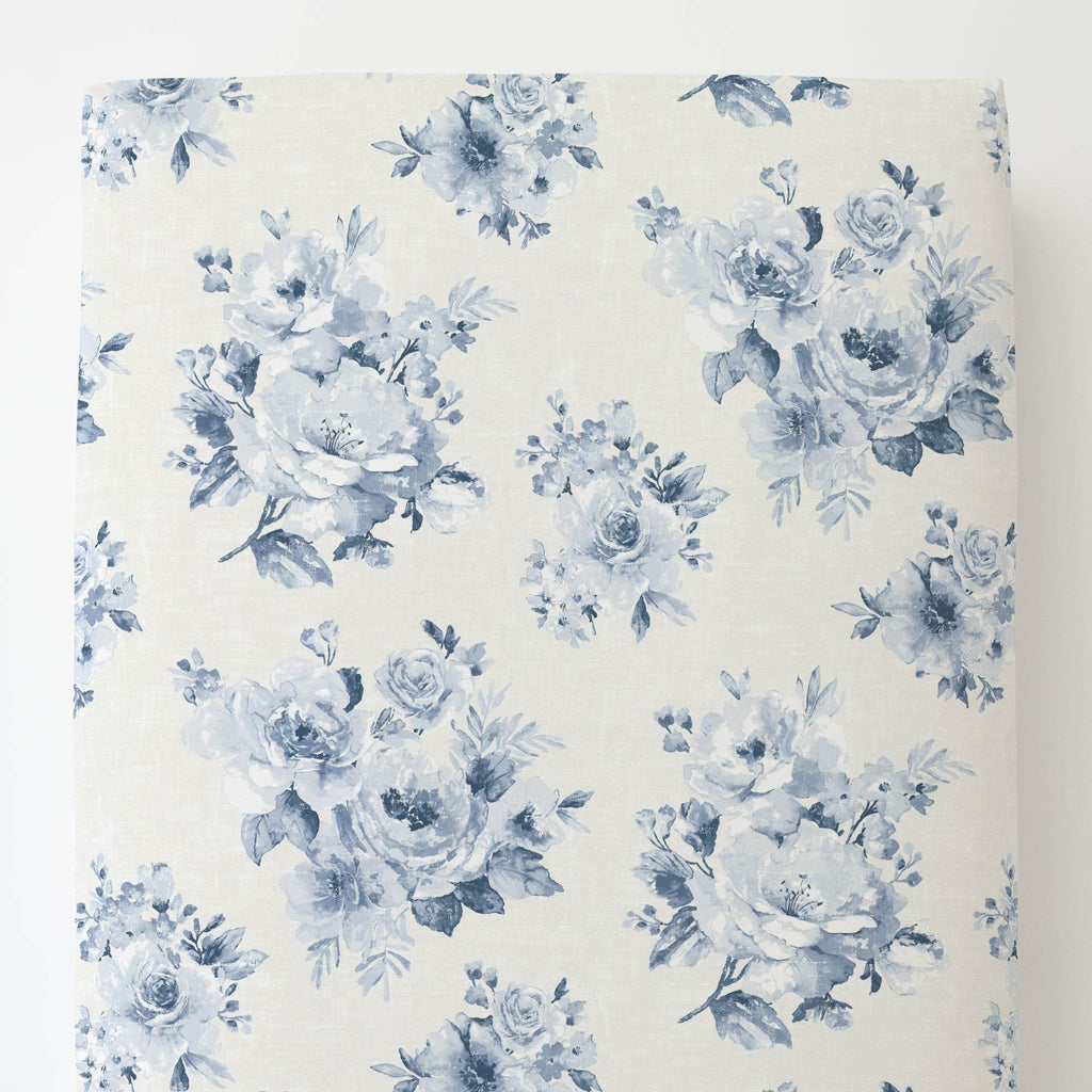 Product image for Blue Farmhouse Floral Toddler Sheet Bottom Fitted