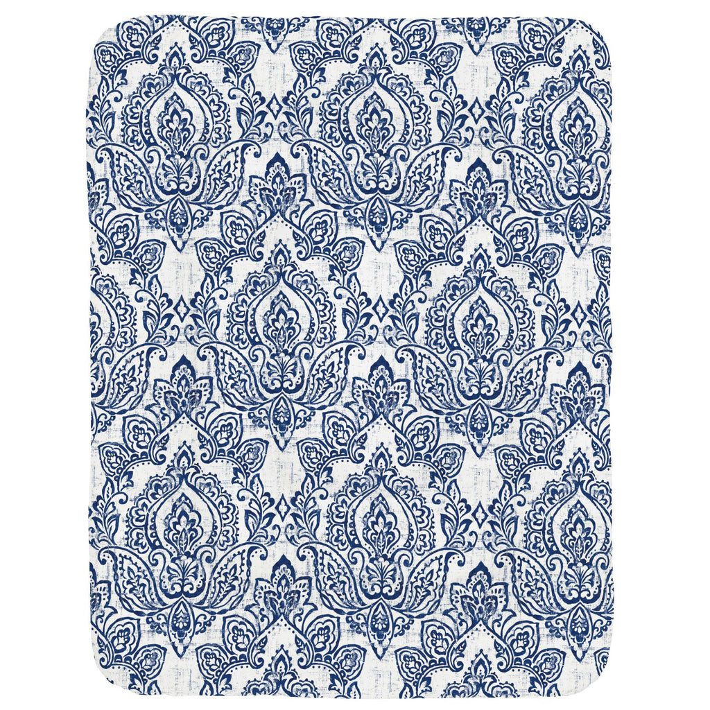 Product image for White and Navy Vintage Damask Crib Comforter