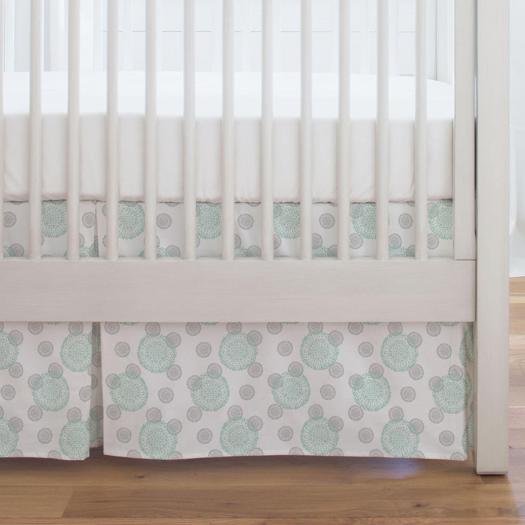 Product image for Mint and Silver Gray Dandelion Crib Skirt Single-Pleat