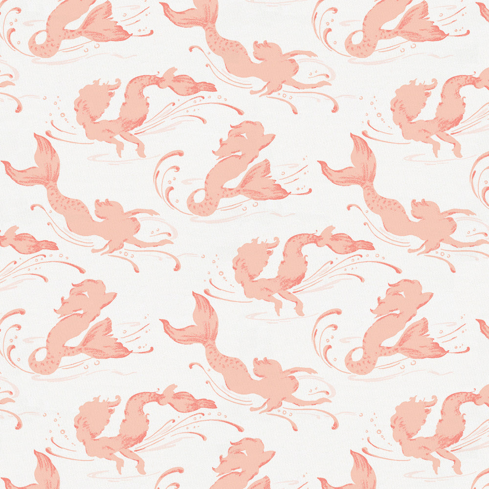 Product image for Peach Swimming Mermaids Fabric
