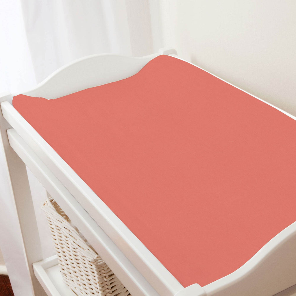 Product image for Solid Coral Changing Pad Cover