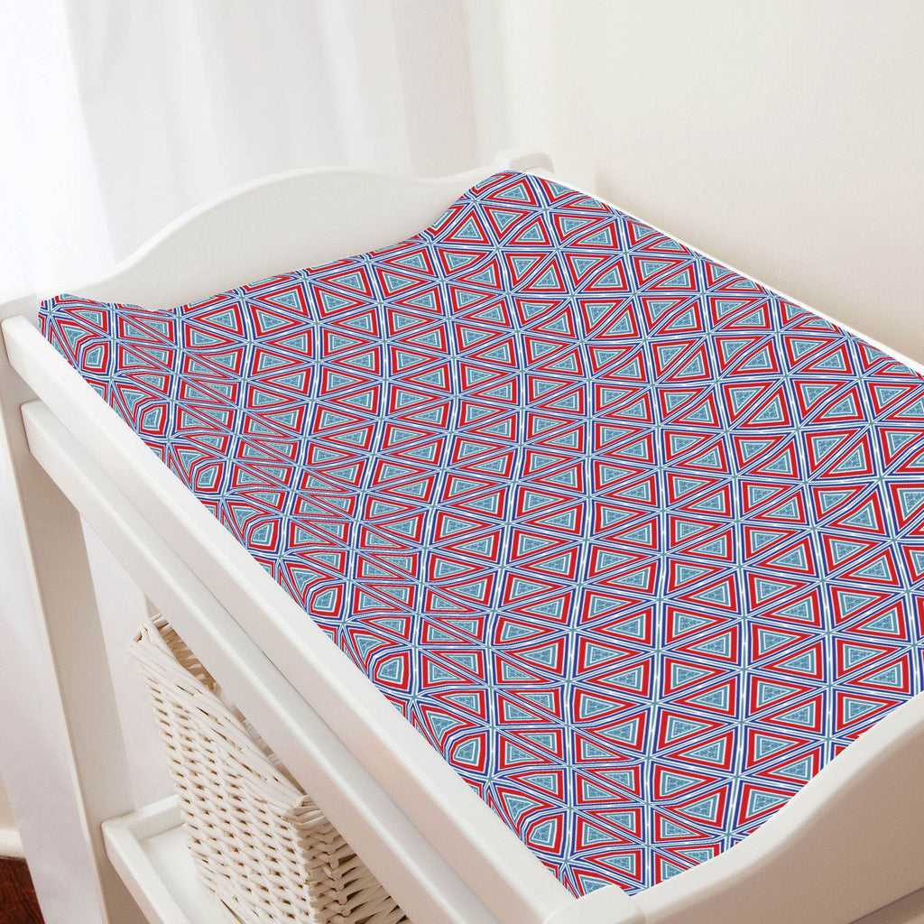 Product image for Red Nautical Triangles Changing Pad Cover