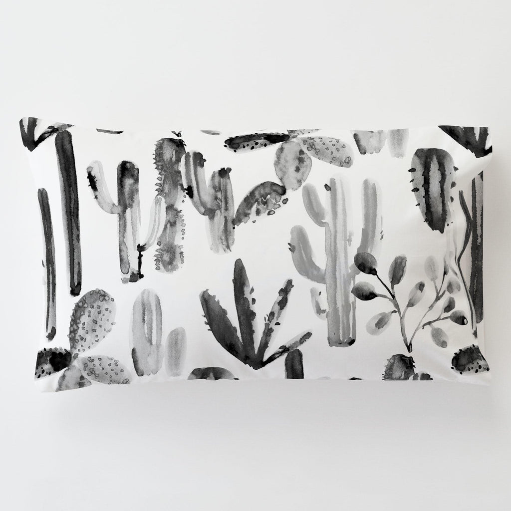 Product image for Charcoal Painted Cactus Toddler Pillow Case with Pillow Insert