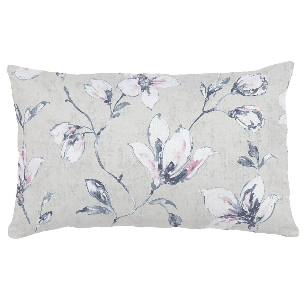 Product image for Pink and Blue Painted Lilies Lumbar Pillow