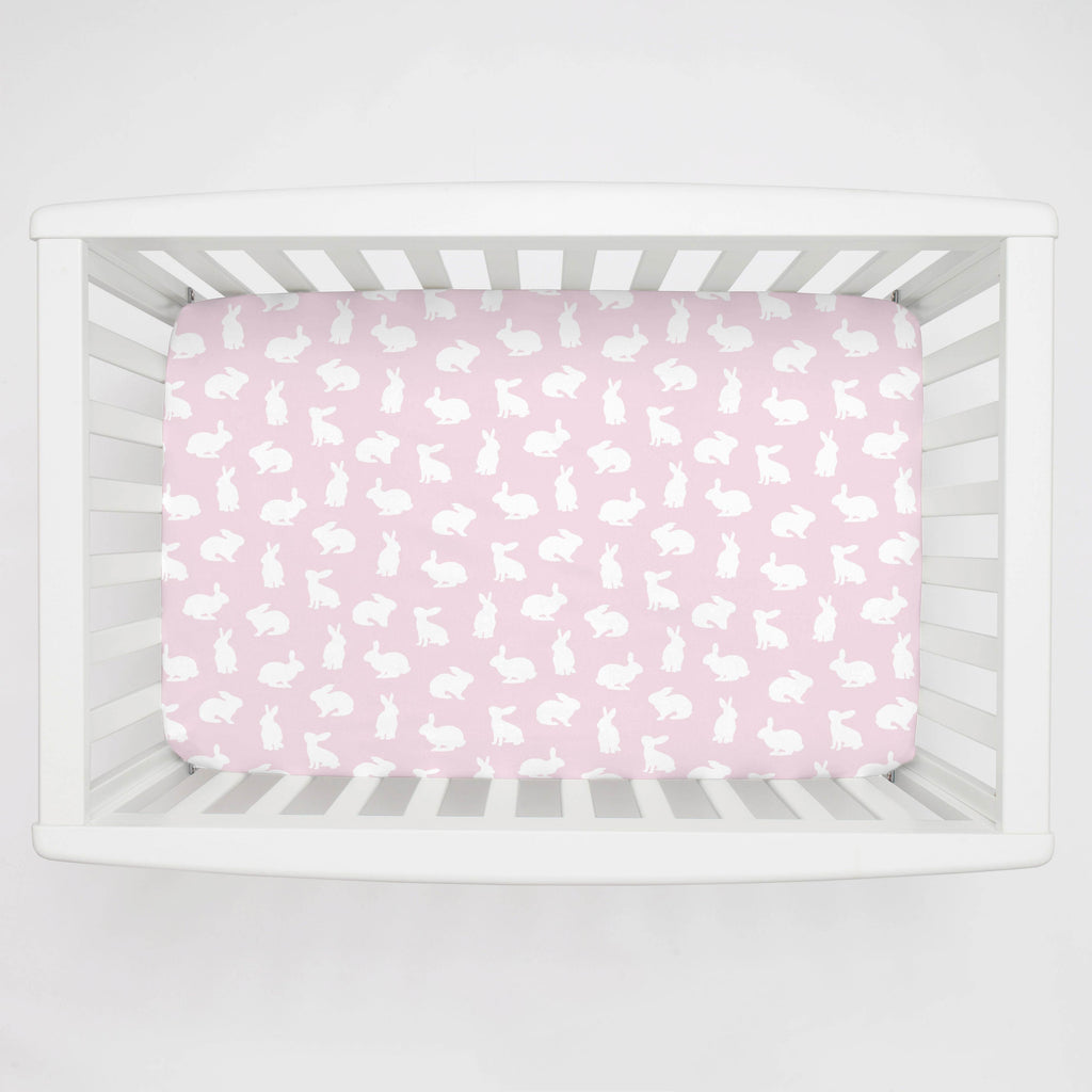 Product image for Pink and White Bunnies Mini Crib Sheet
