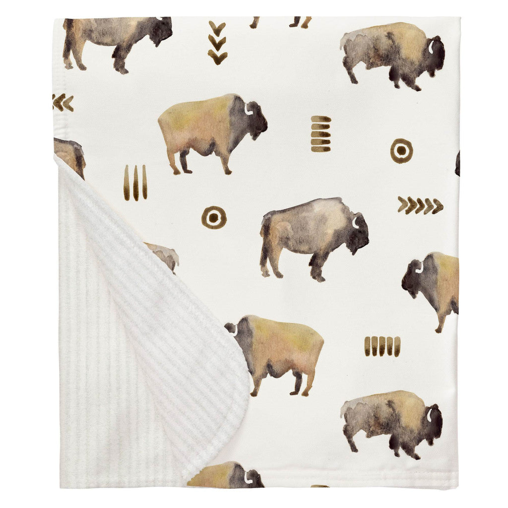 Product image for Watercolor Buffalo Baby Blanket