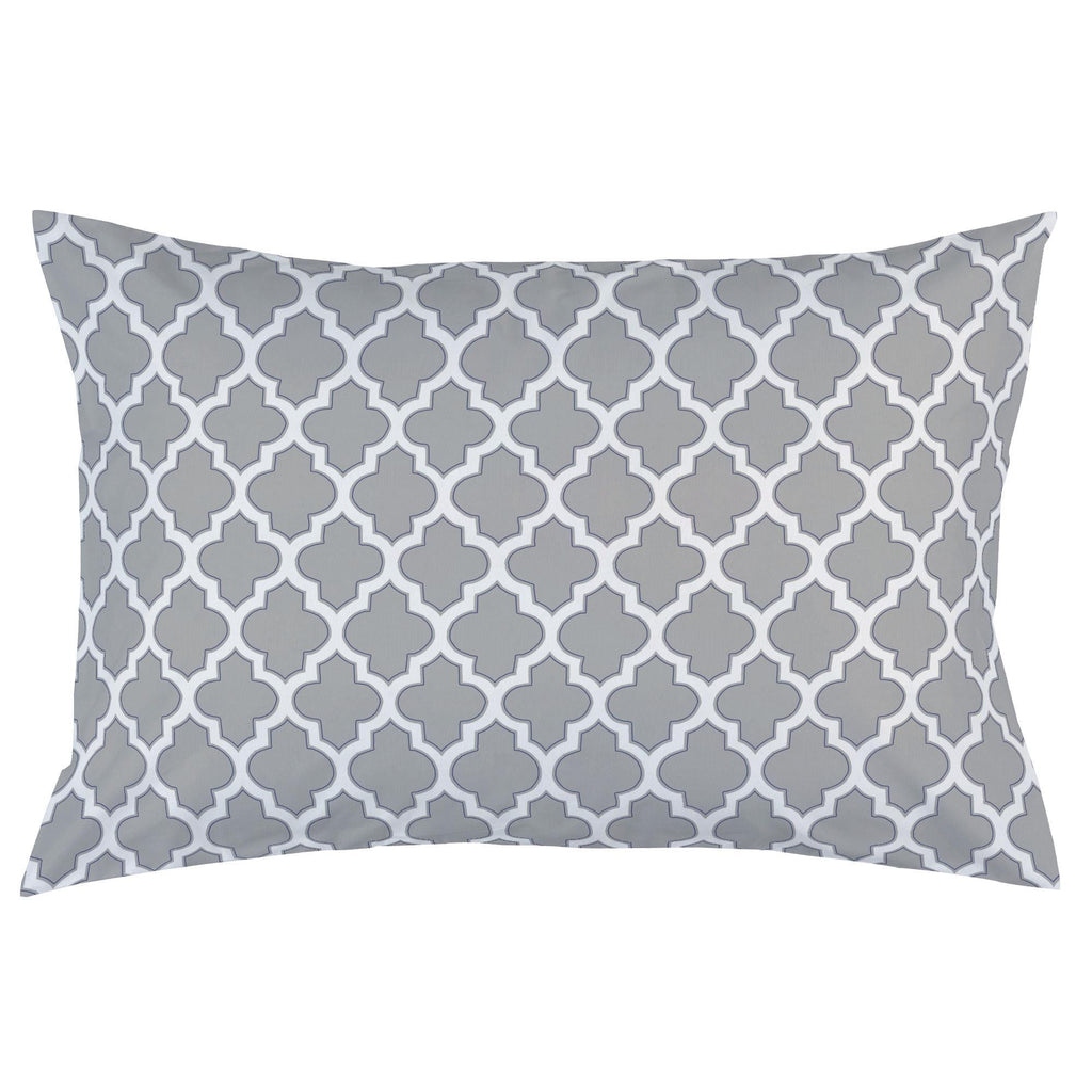 Product image for Silver Gray and Navy Hand Drawn Quatrefoil Pillow Case