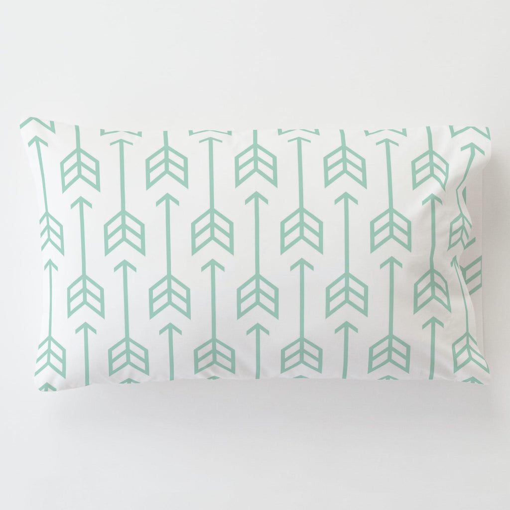 Product image for Mint Arrow Toddler Pillow Case with Pillow Insert