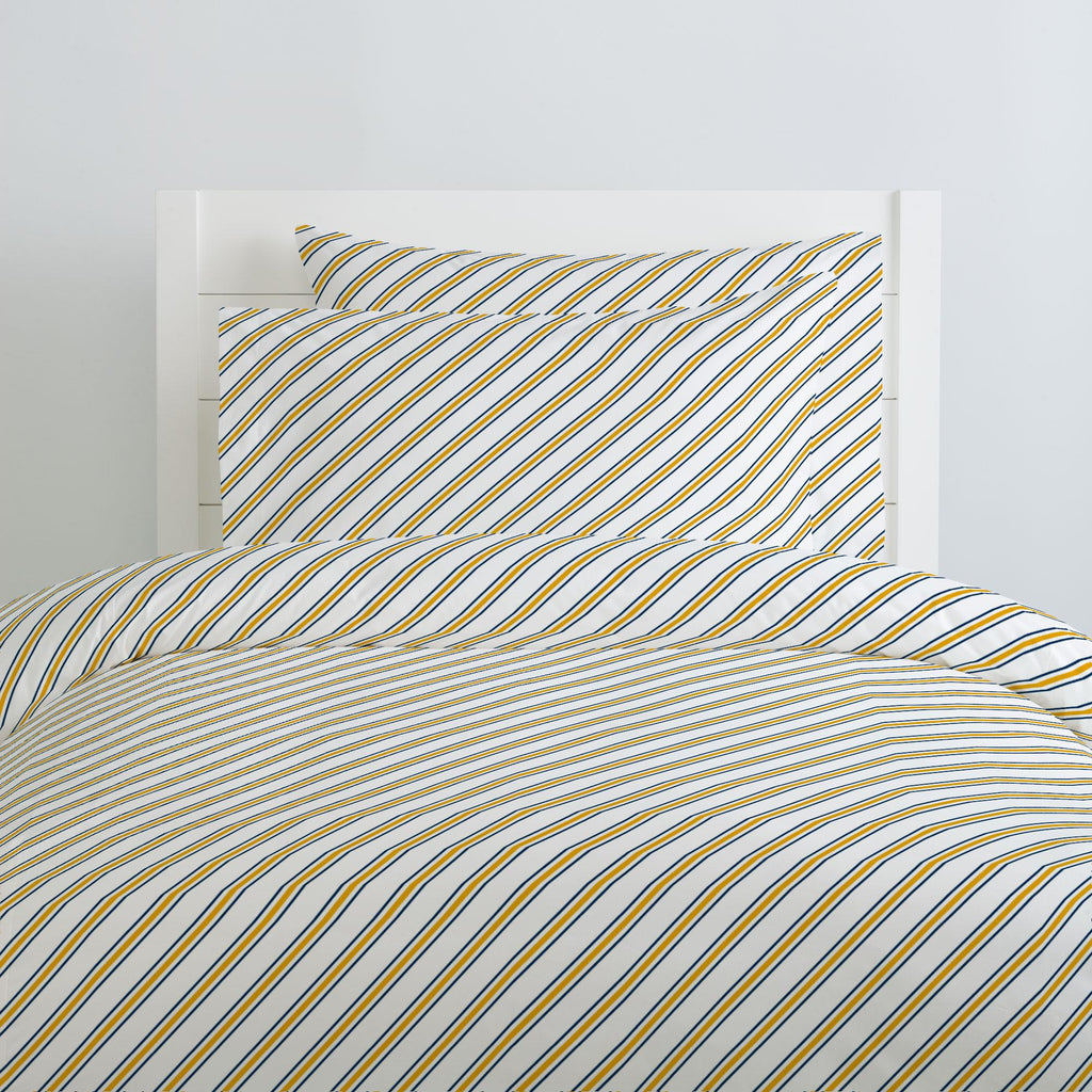 Product image for Navy and Yellow Necktie Stripe Duvet Cover