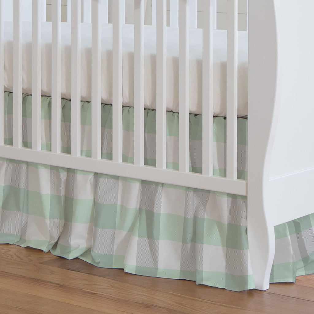 Product image for Mint and Gray Buffalo Check Crib Skirt Gathered