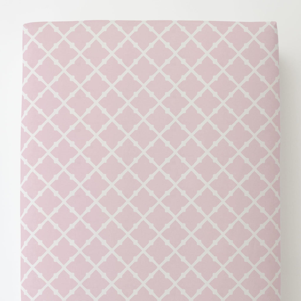 Product image for Pink Lattice Toddler Sheet Bottom Fitted