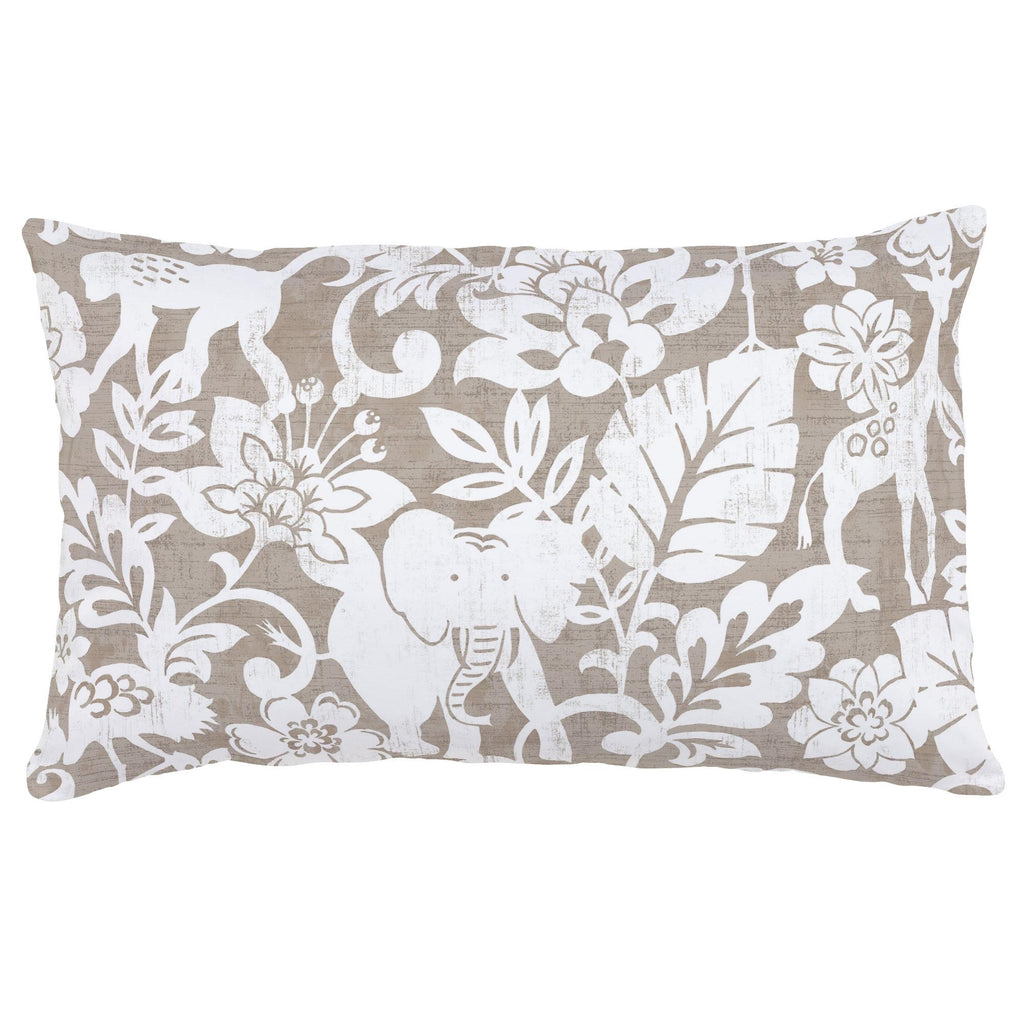 Product image for Taupe and White Jungle Lumbar Pillow