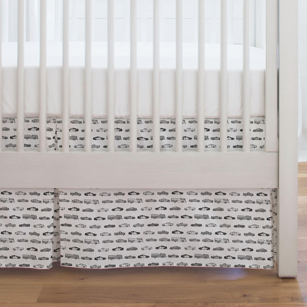 Product image for Gray Modern Cars Crib Skirt Single-Pleat