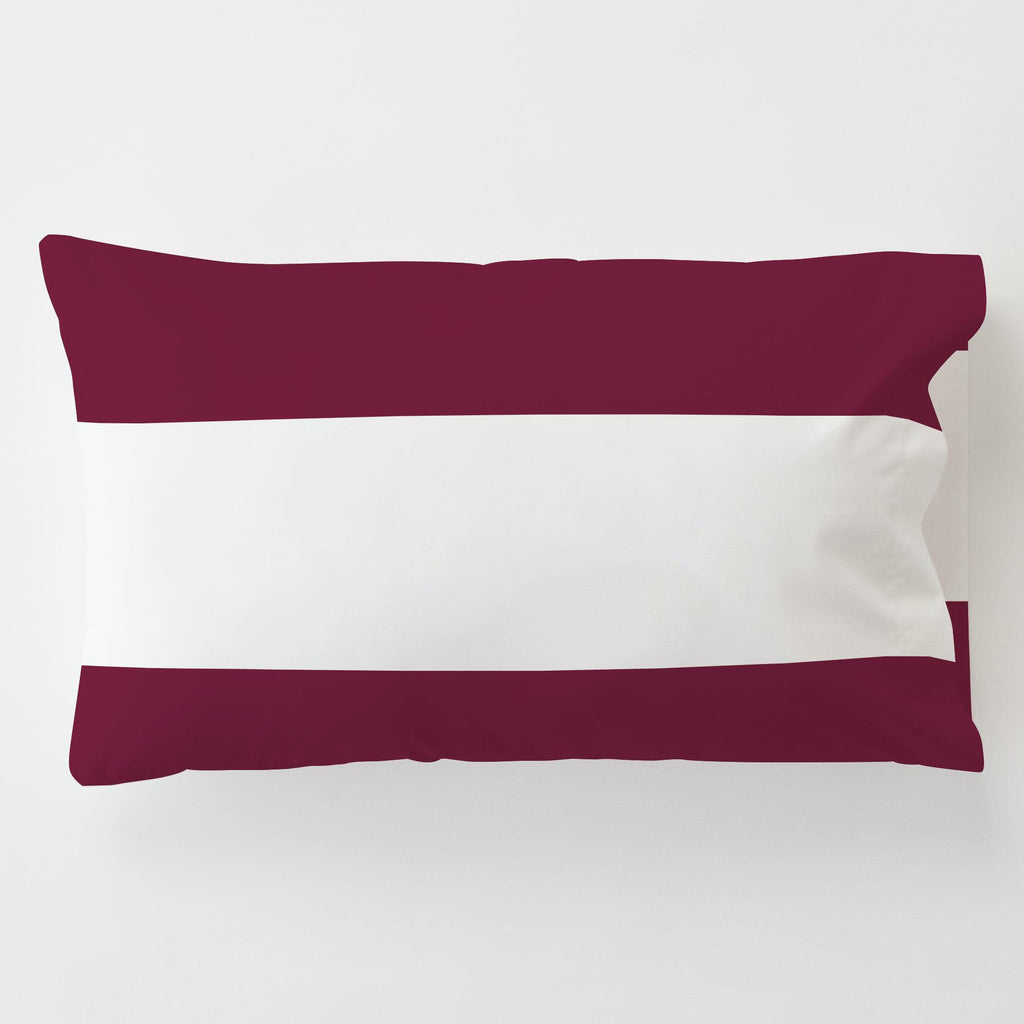 Product image for Maroon Horizontal Stripe Toddler Pillow Case with Pillow Insert