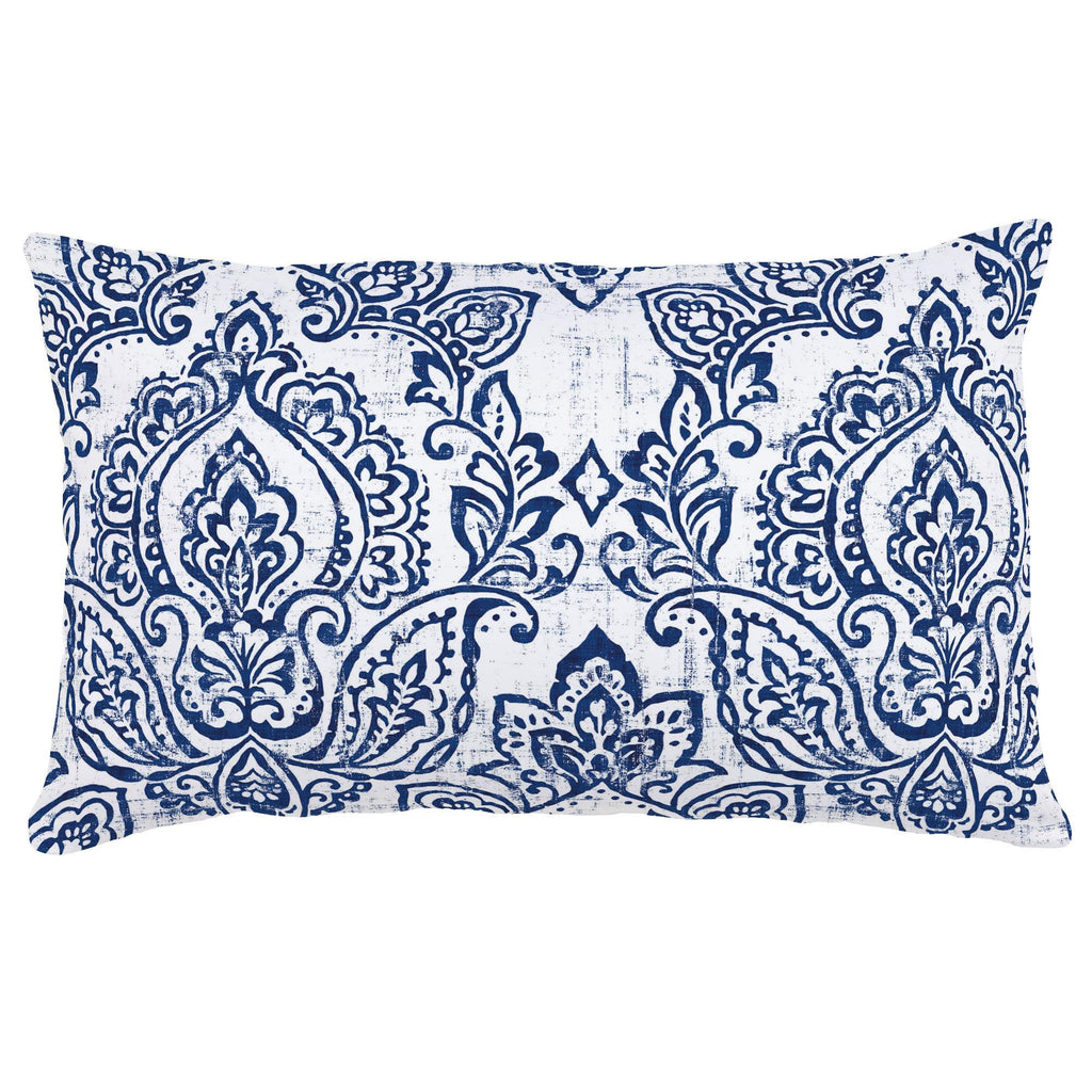 Product image for White and Navy Vintage Damask Lumbar Pillow