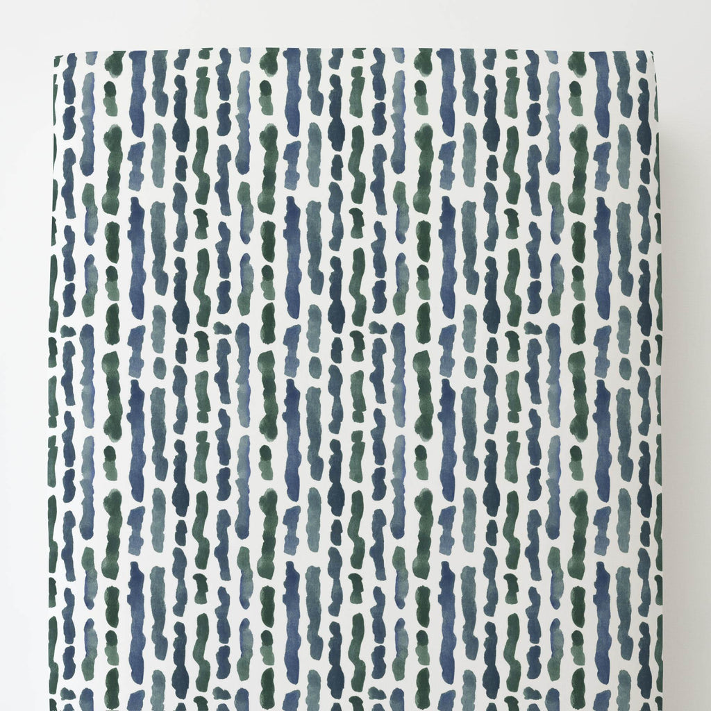 Product image for Sea Green Stripe Toddler Sheet Bottom Fitted
