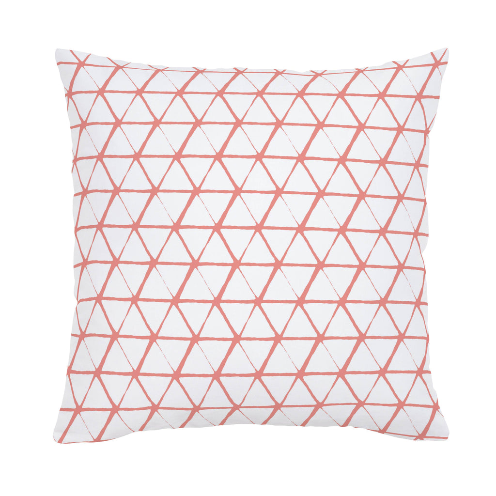 Product image for White and Light Coral Aztec Triangles Throw Pillow