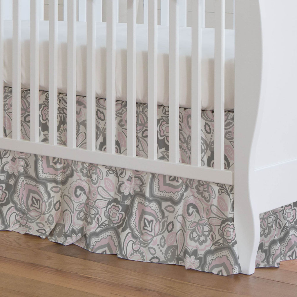 Product image for Pink and Gray Jacobean Crib Skirt Gathered
