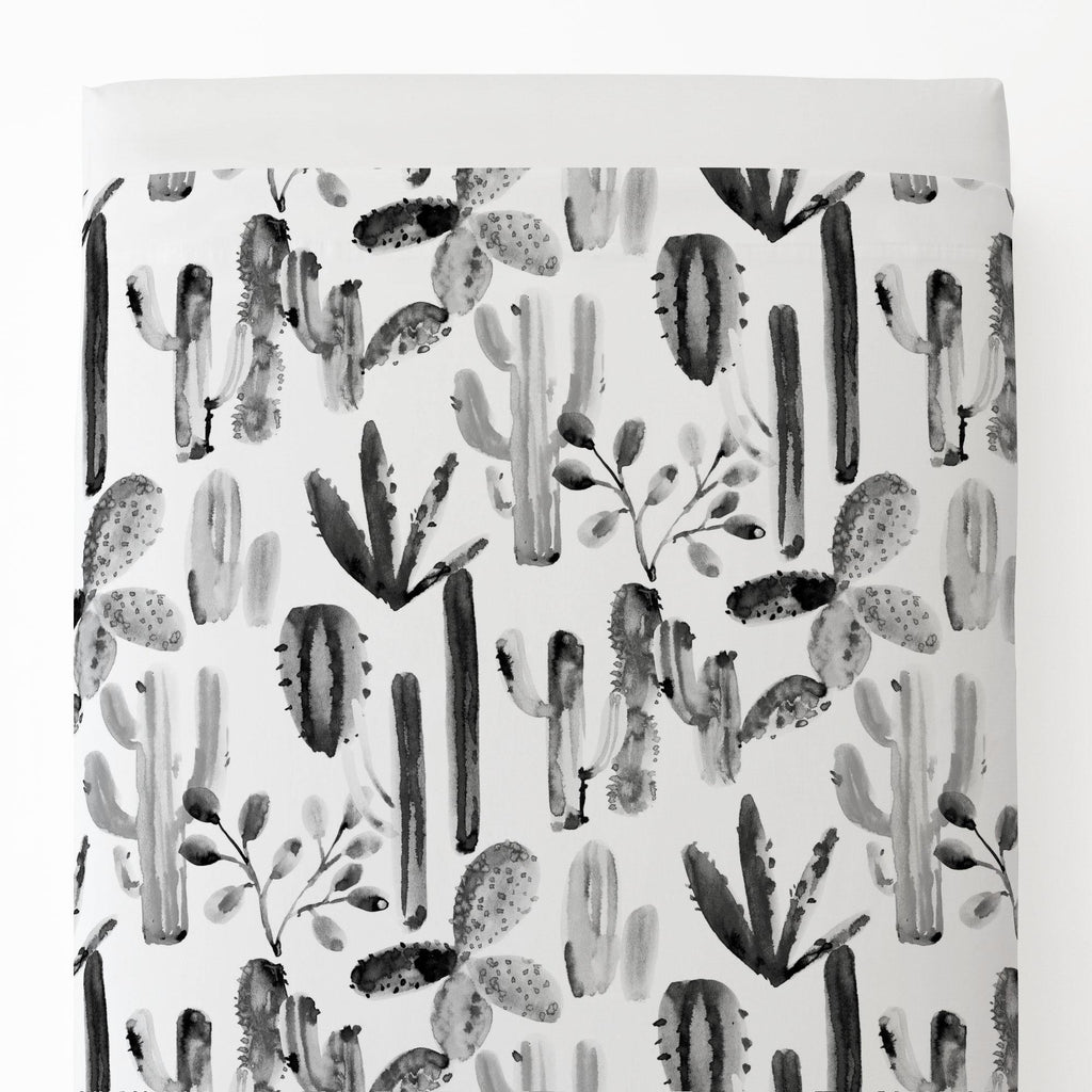 Product image for Charcoal Painted Cactus Toddler Sheet Top Flat
