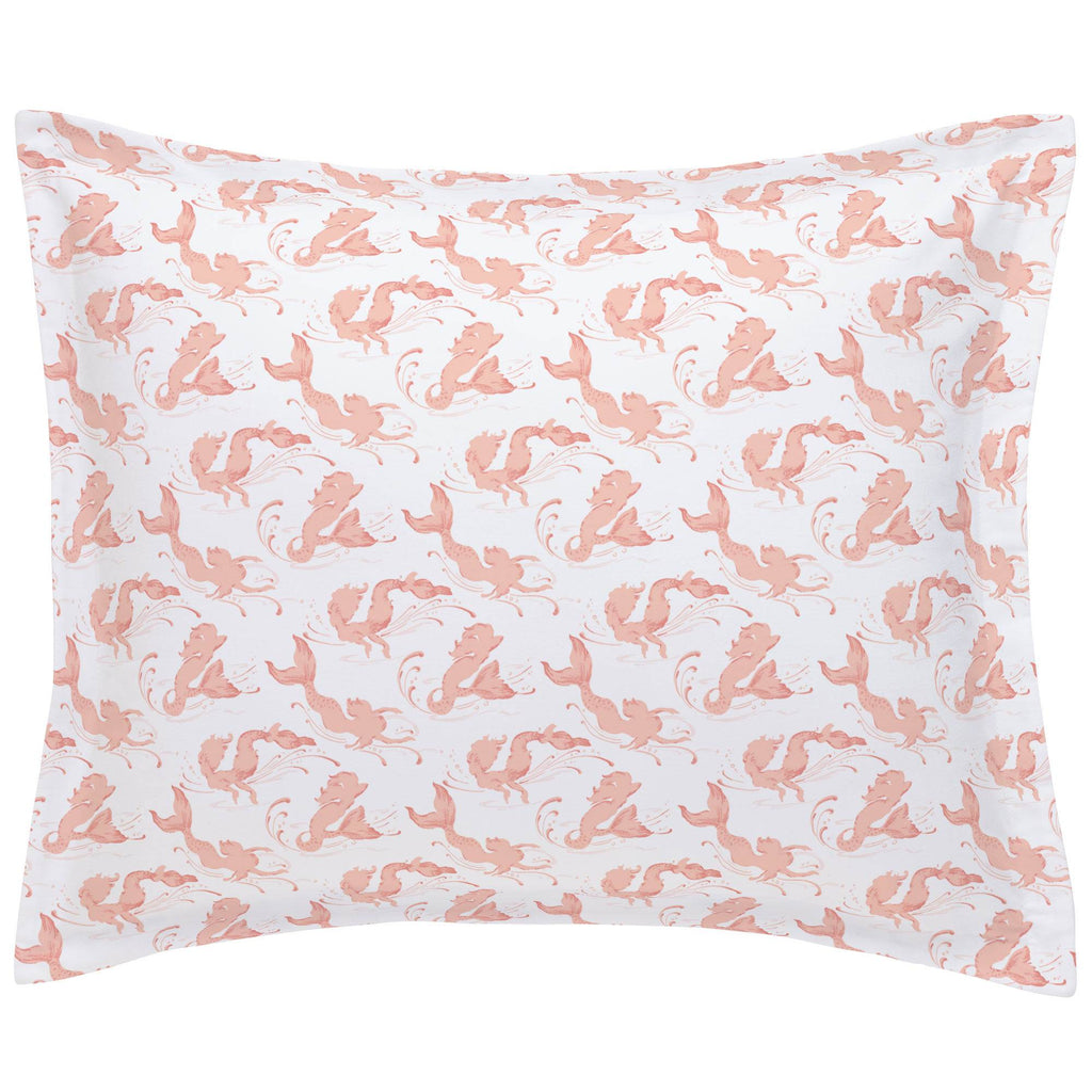 Product image for Peach Swimming Mermaids Pillow Sham