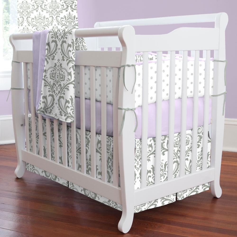Product image for Cloud Gray Ditsy Dot Mini Crib Bumper