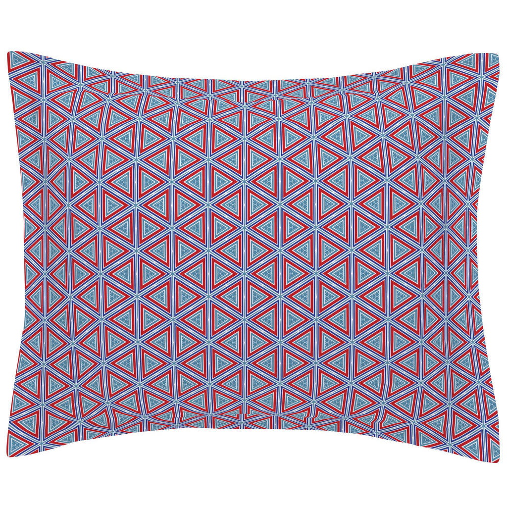 Product image for Red Nautical Triangles Pillow Sham