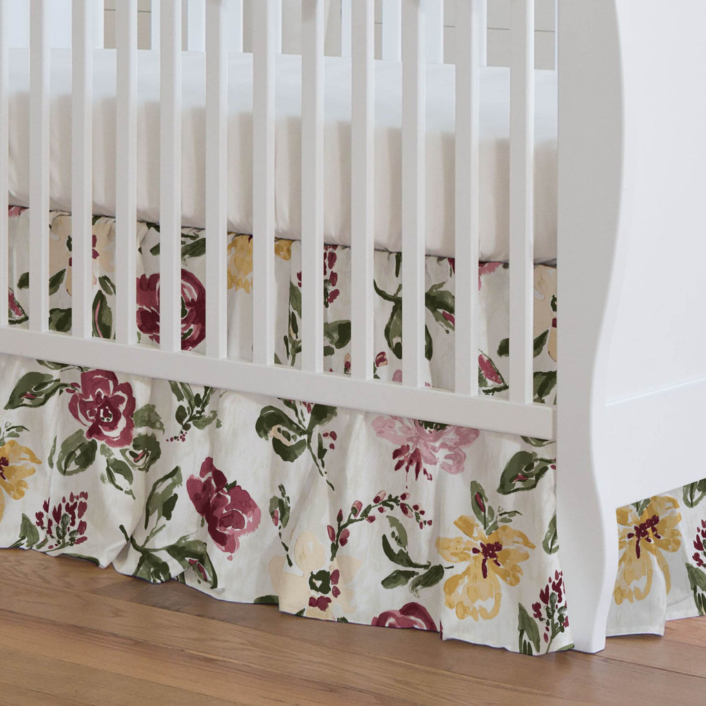 Product image for Merlot Garden Crib Skirt Gathered