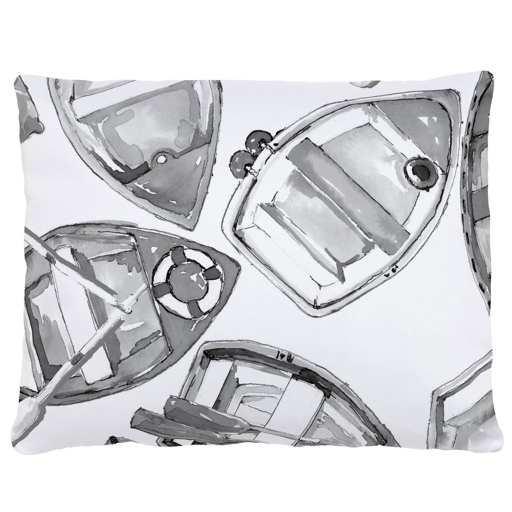 Product image for Gray Watercolor Boats Accent Pillow