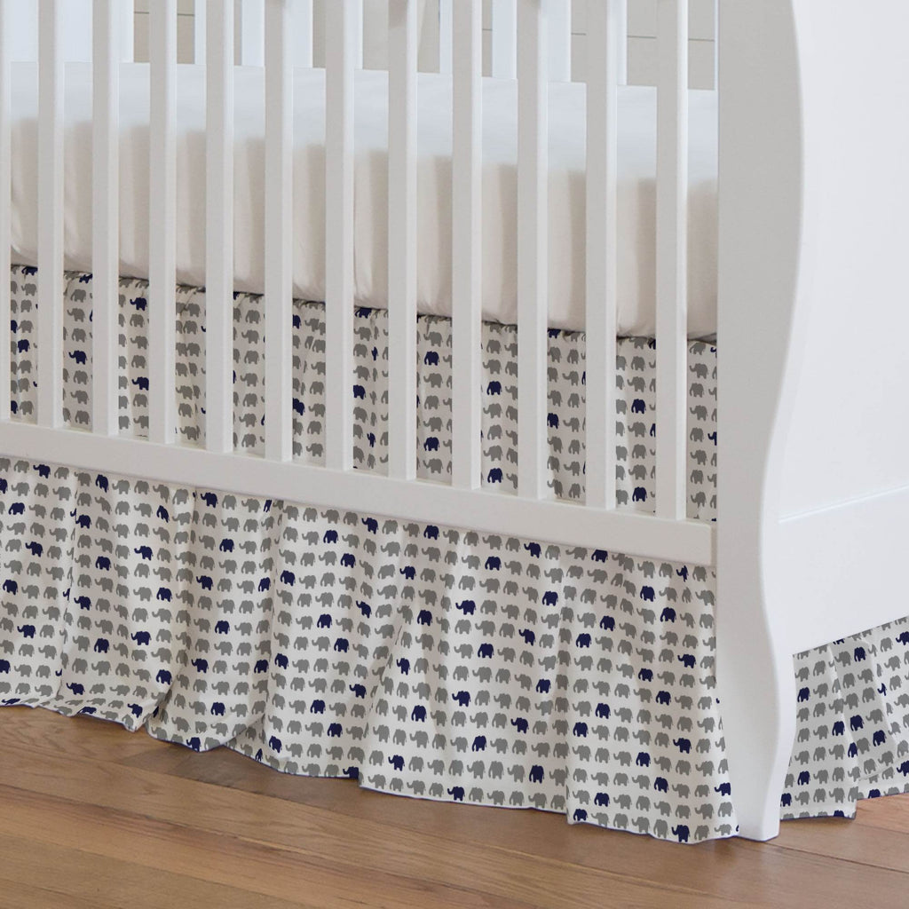 Product image for Cloud Gray and Navy Elephant Parade Crib Skirt Gathered