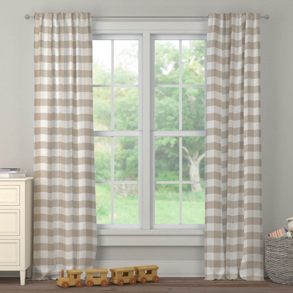 Product image for Taupe and White Buffalo Check Drape Panel