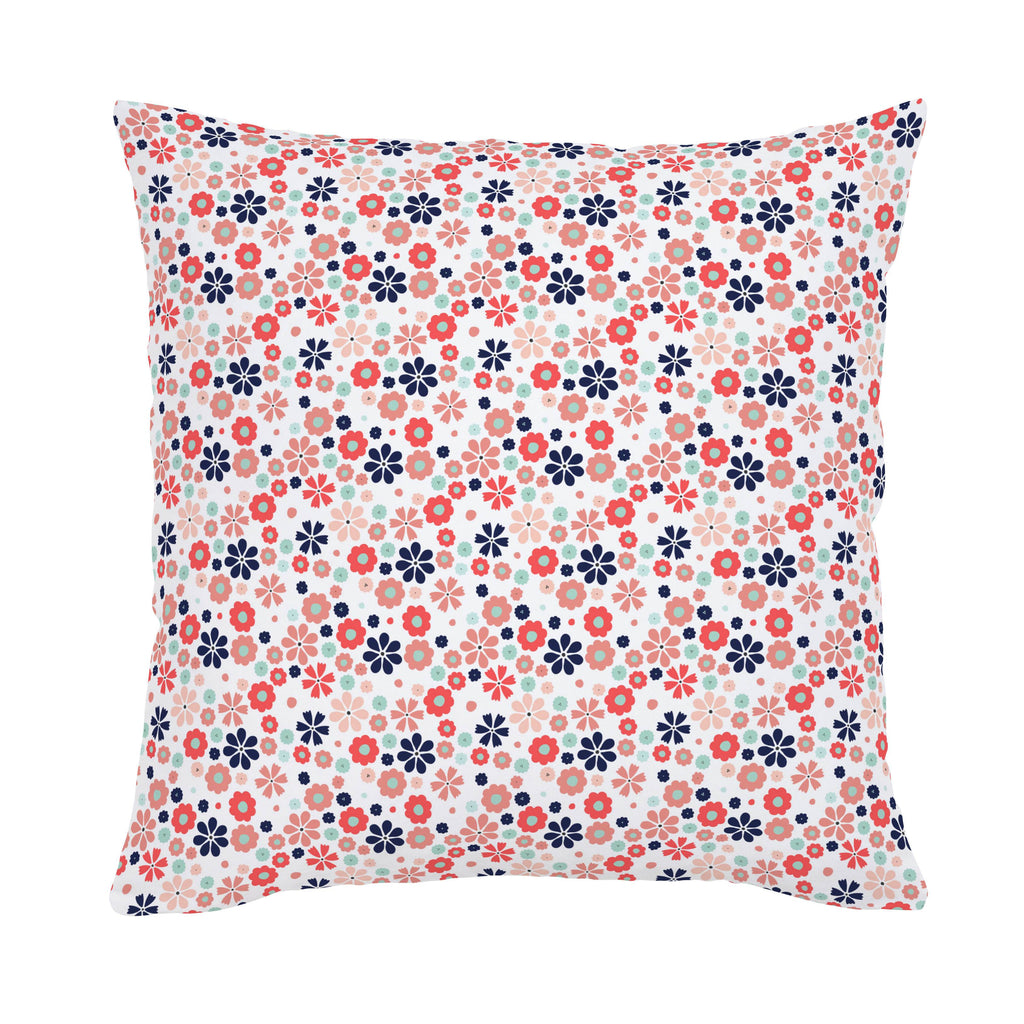 Product image for Coral Spring Flowers Throw Pillow