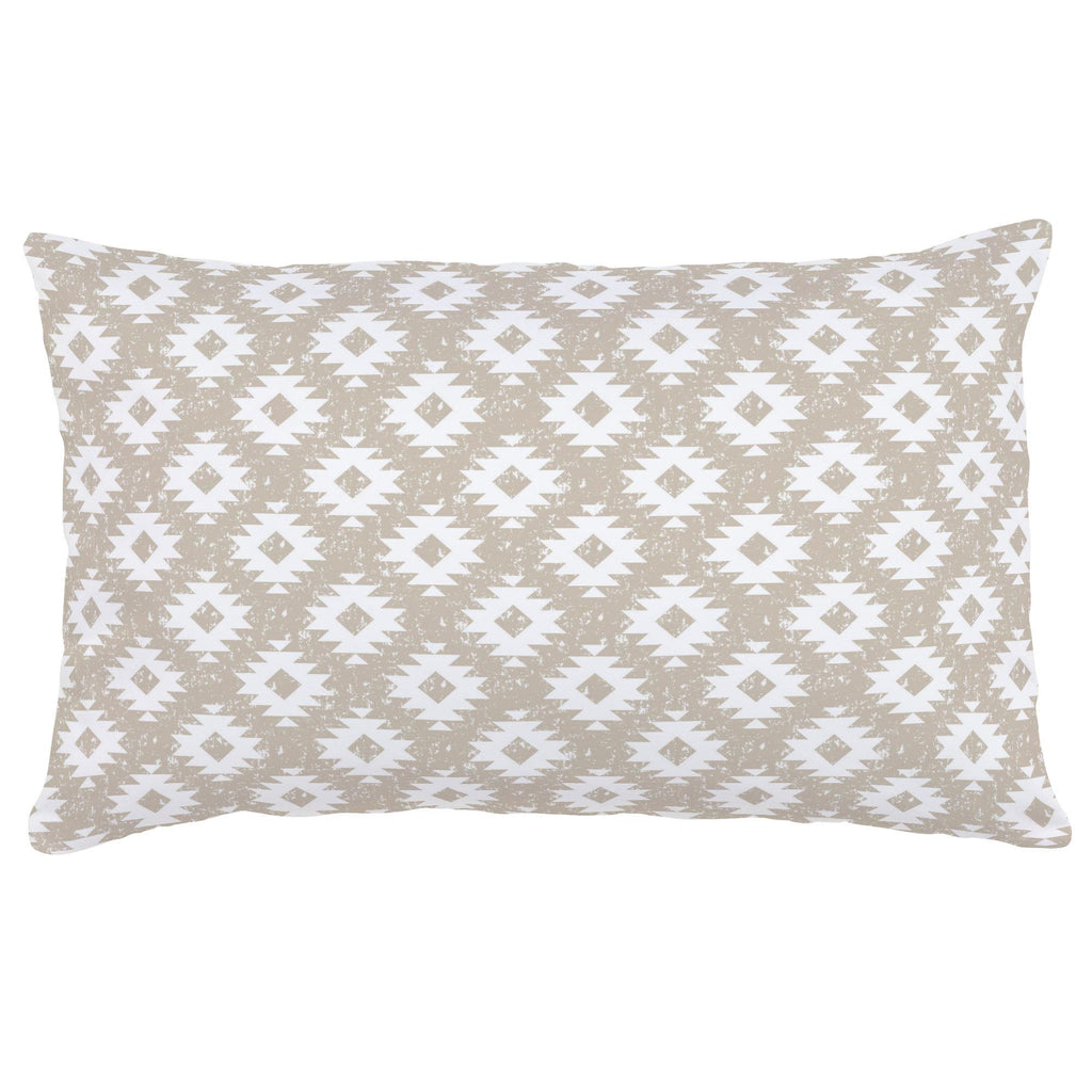 Product image for Taupe and White Aztec Lumbar Pillow