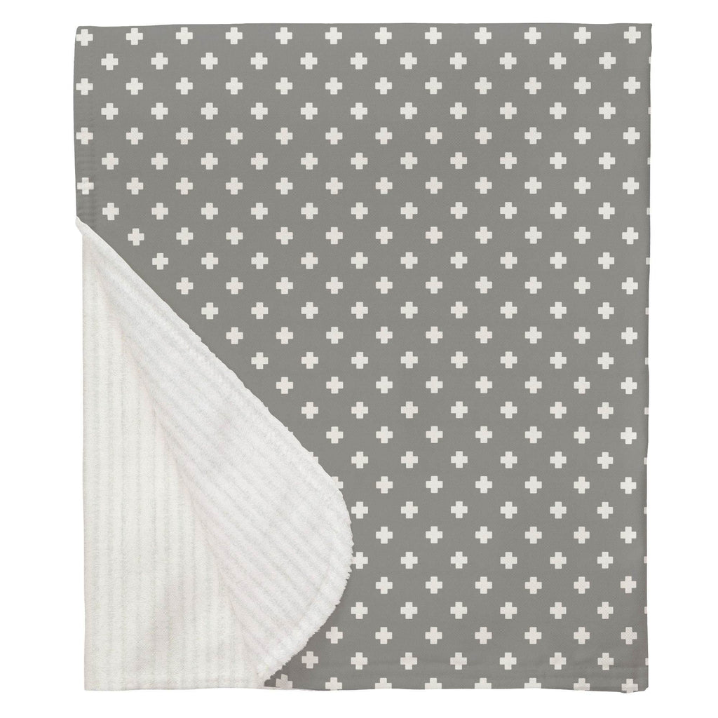Product image for Gray Mini Swiss Cross Baby Blanket