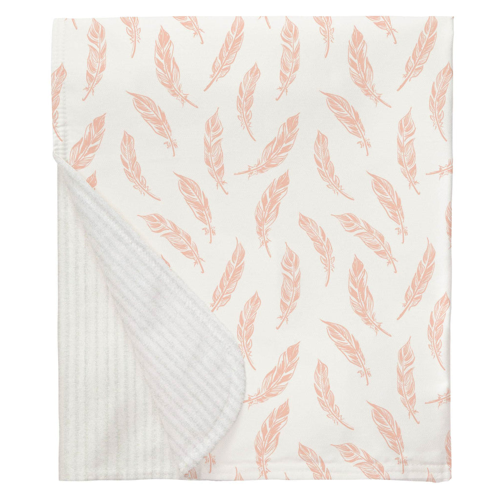 Product image for Peach Hand Drawn Feathers Baby Blanket