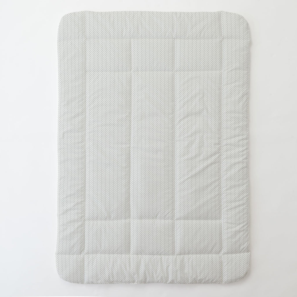 Product image for White and Cloud Gray Classic Herringbone Toddler Comforter