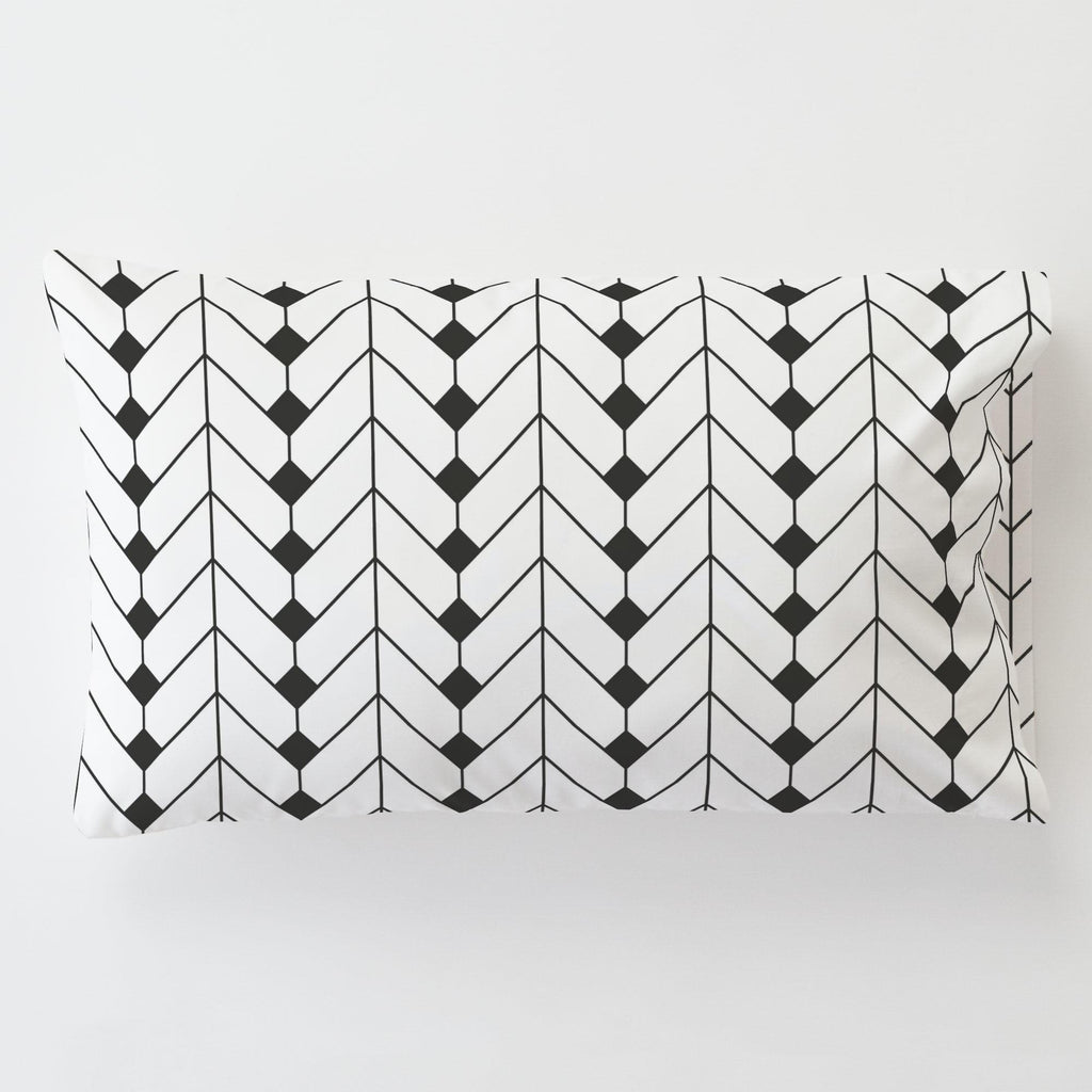 Product image for Charcoal Diamond Herringbone Toddler Pillow Case with Pillow Insert