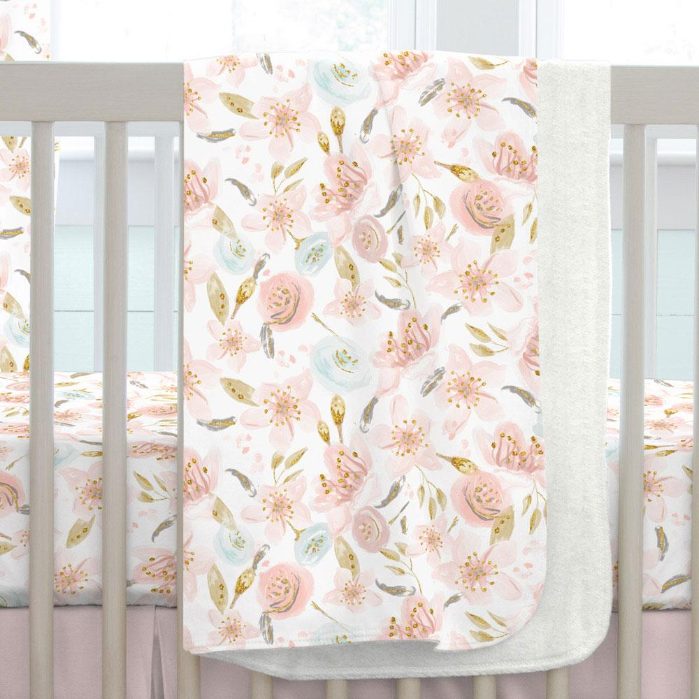 Product image for Pink Hawaiian Floral Baby Blanket