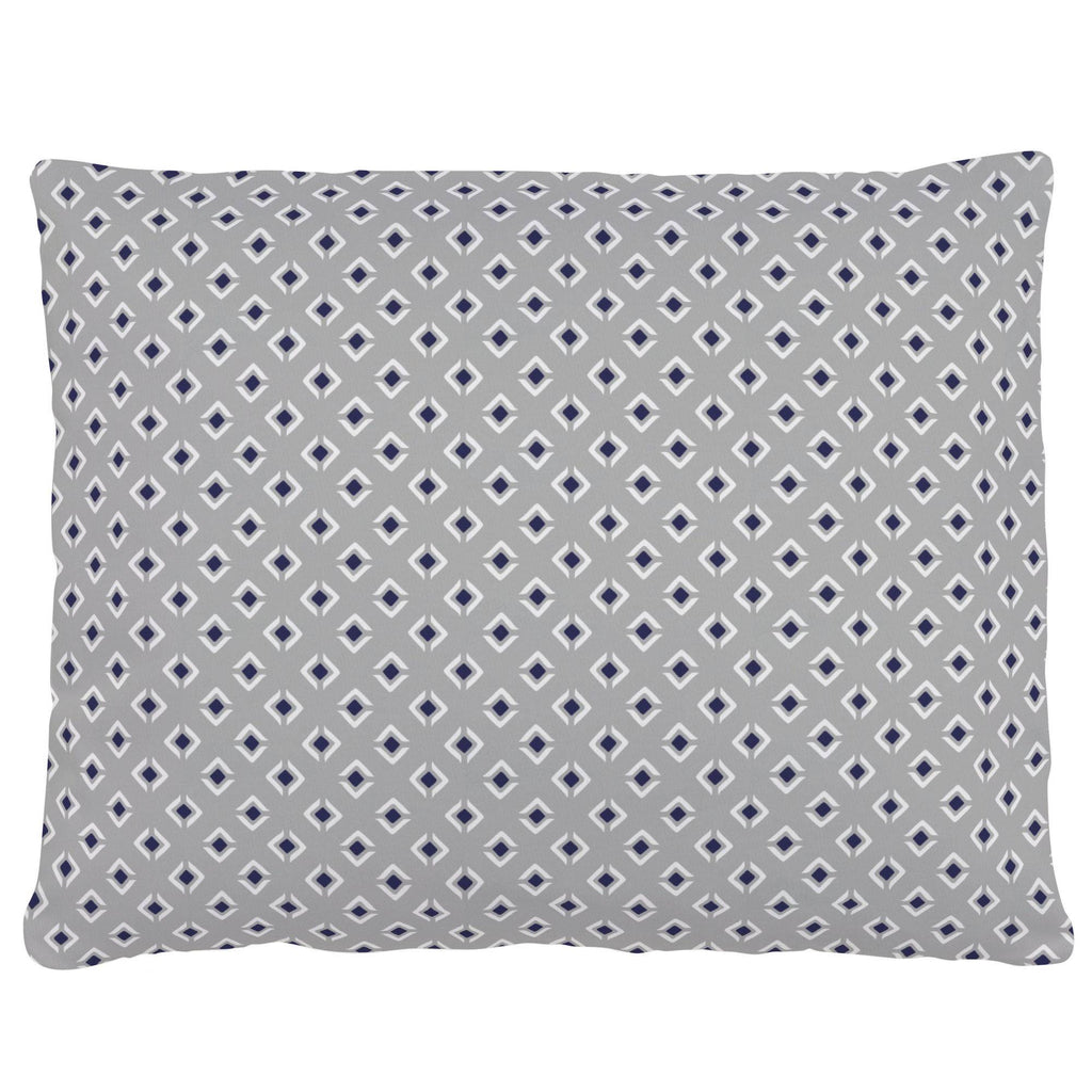 Product image for Silver Gray and Navy Diamond Accent Pillow