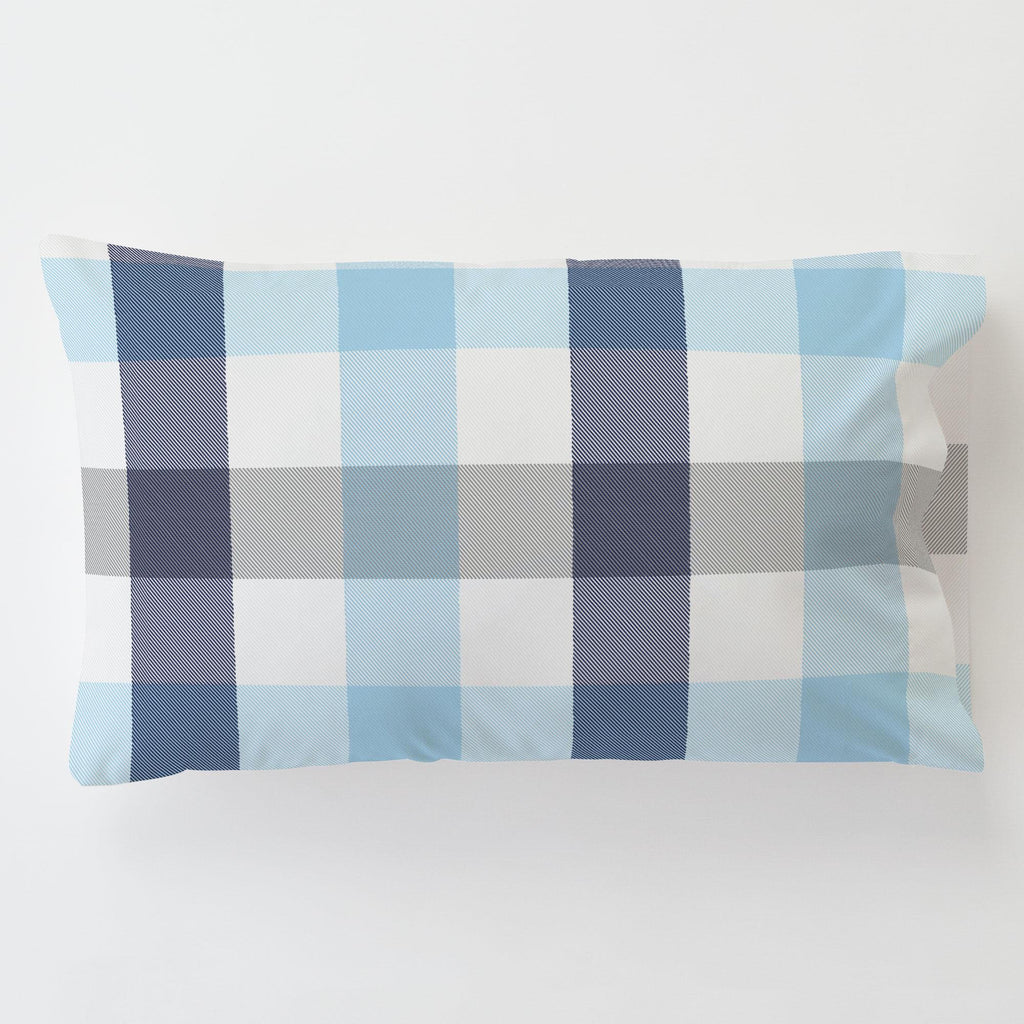 Product image for Navy and Lake Blue Buffalo Check Toddler Pillow Case with Pillow Insert