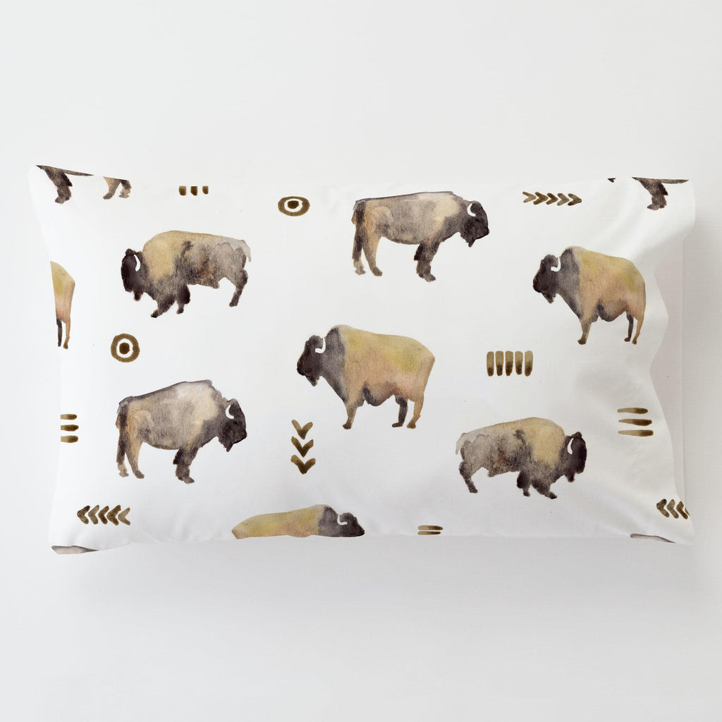 Product image for Watercolor Buffalo Toddler Pillow Case with Pillow Insert