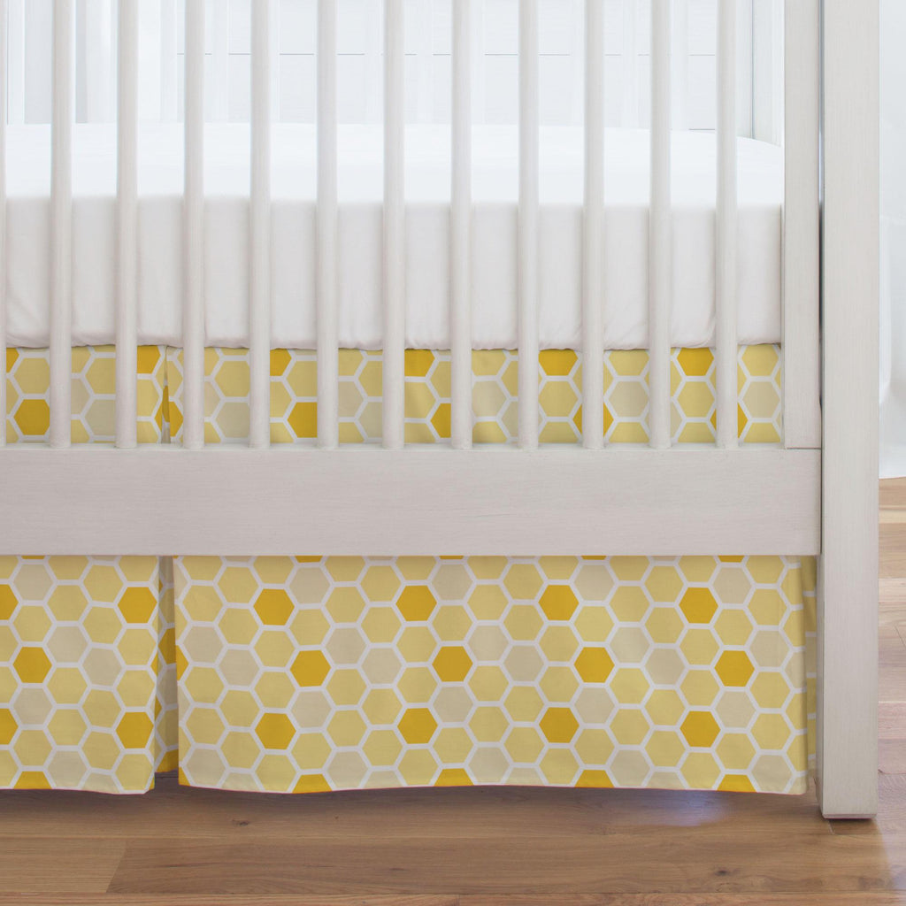 Product image for Yellow Honeycomb Crib Skirt Single-Pleat