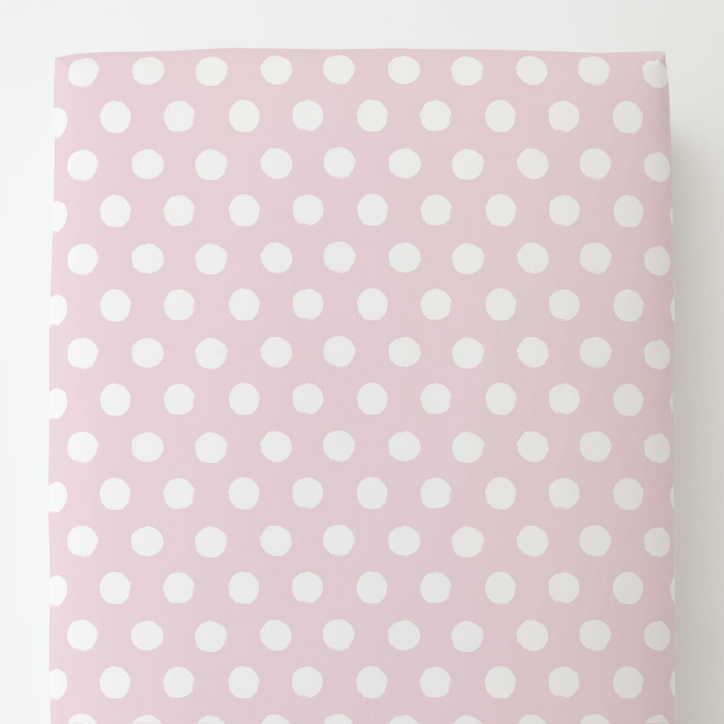 Product image for Pink and White Brush Dots Toddler Sheet Bottom Fitted