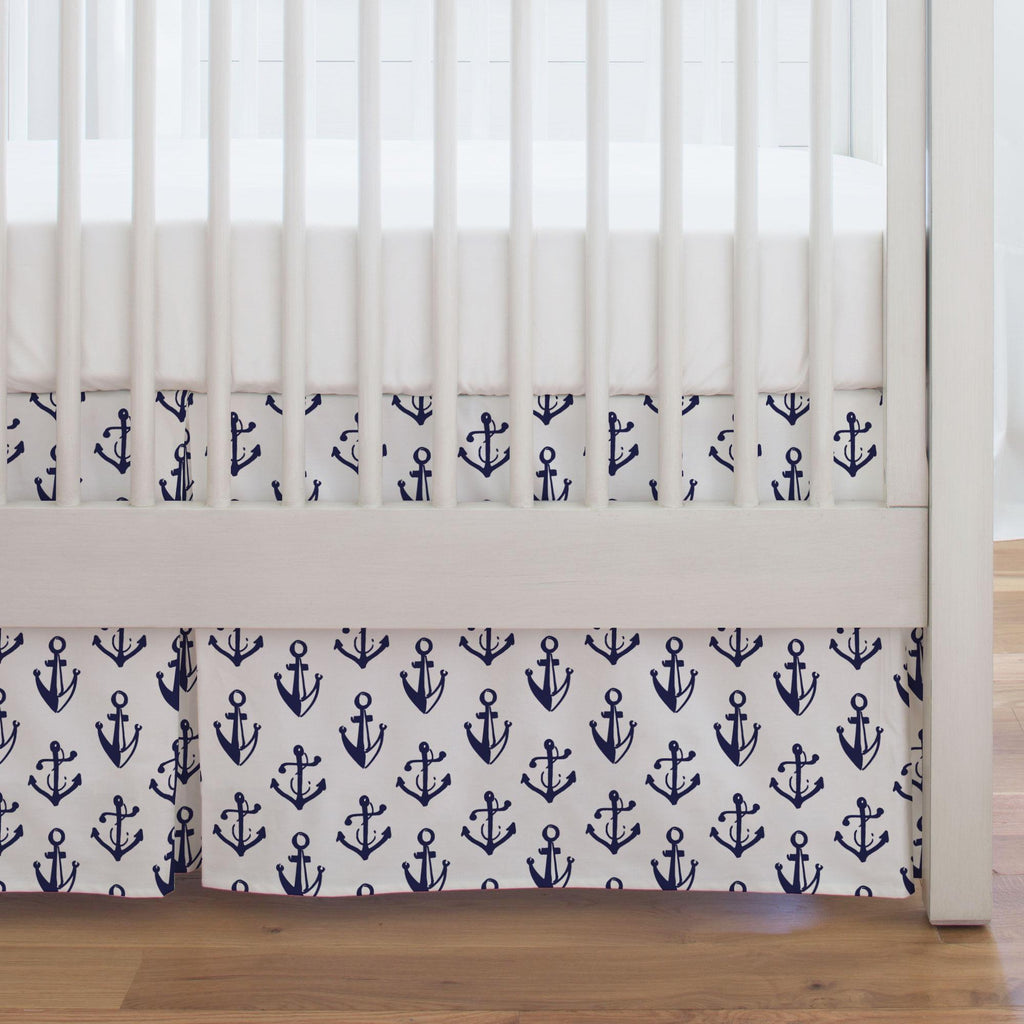 Product image for Windsor Navy Anchors Crib Skirt Single-Pleat