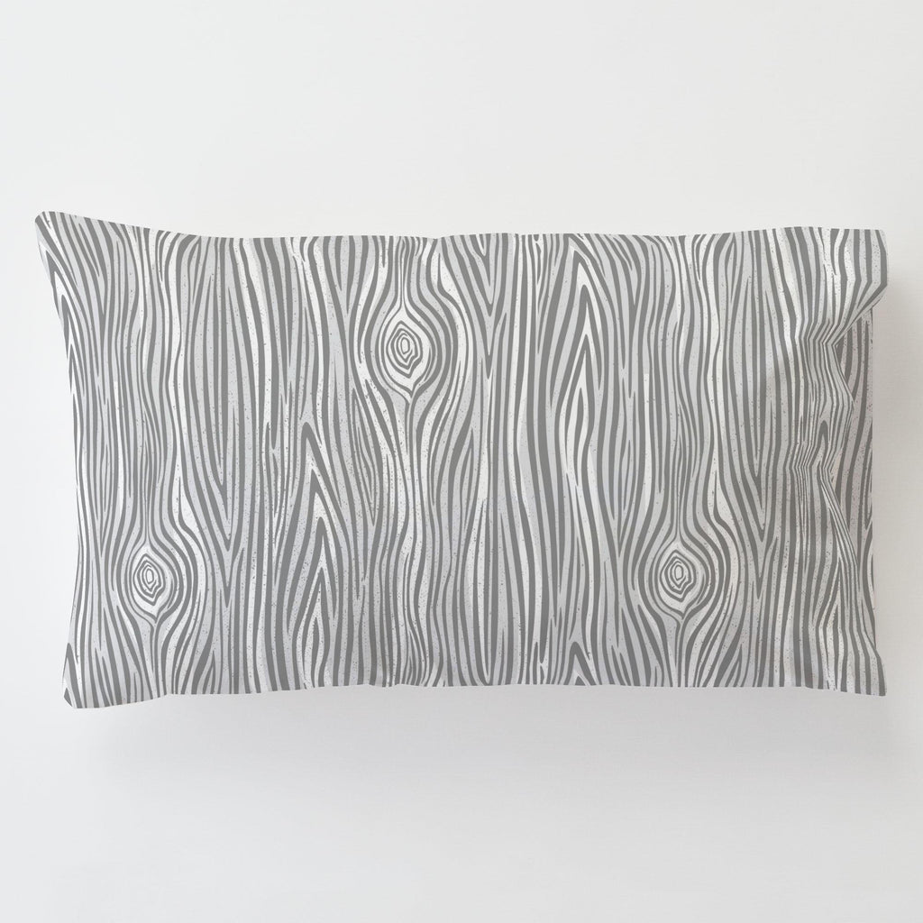 Product image for Gray Woodgrain Toddler Pillow Case with Pillow Insert